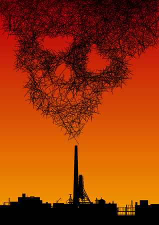 Factory is blowing smoke in the form of an abstract skull. The concept of harm to the environment from industrial emissions. Silhouette of industrial landscape.