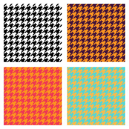 Set of seamless duotone textile patterns. Chekered ornament houndstooth, hounds tooth check, hounds tooth, dogstooth, dogtooth, dogs tooth or pied-de-poule.