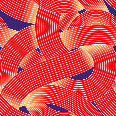 Seamless op art vector pattern. Striped wave abstract background. Optical illusion of volume. Moire lines, texture of curling ribbon. Illustration