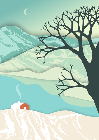 Mountain landscape in layer art style. Christmas illustration. Illusion of depth in romantic winter scene with rural house. Illustration
