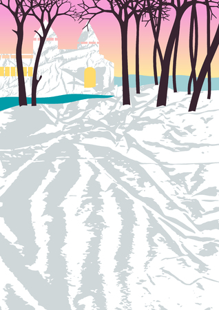winter scene: Abstract landscape. Christmas illustration. Romantic winter scene with house. Illustration