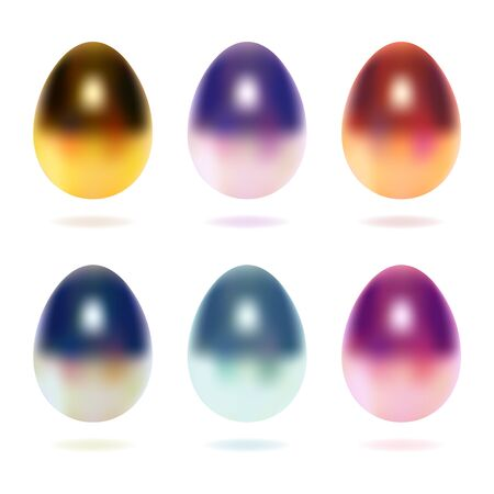 Colorful vector set eggs. Created with gradient mesh. Isolated on white background. EPS 10.