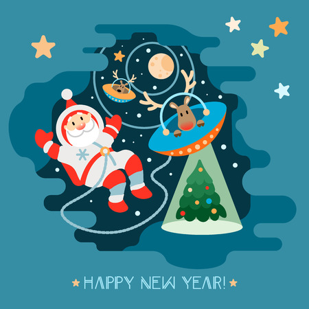 Santa Claus and his reindeer alien astronaut flying in a UFO and teleport of Xmas tree. Cosmonaut in a spacesuit on the space background, moon, and stars. Illustration in a flat style.