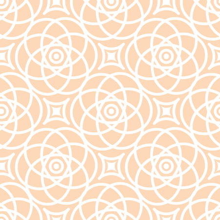 Abstract vector seamless lace pattern. Duotone graphic beige and white ornament. Geometric arabesque floral ornament.