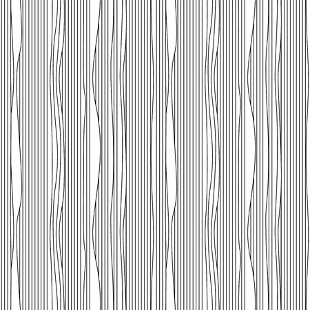 deformation: Abstract vector seamless moire pattern with waving curling lines. Monochrome  graphic black and white ornament. Striped repeating texture.