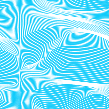 Abstract vector seamless moire pattern with waving curling lines. Monochrome  graphic blue and white ornament. Striped repeating texture.