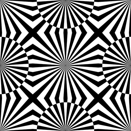 Abstract vector seamless op art pattern. Monochrome graphic black and white ornament. Striped optical illusion repeating texture. Illustration