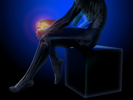 seated man: Knee pain. X-ray of the skeleton and legs. Anatomical body of a seated man. 3d medical illustration.