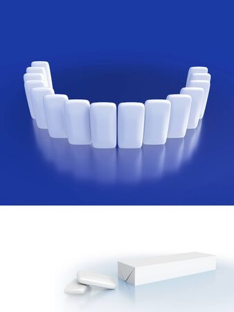 Close-up of white shiny chewing gums with reflections. Illustration dental care and beautiful smile teeth.  Mock up of packaging chew-gum. 3D render.
