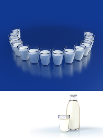 Close-up of milk glasses with reflections. Illustration dental care and beautiful smile teeth. Mock up of dairy glass and bottle. 3D render.