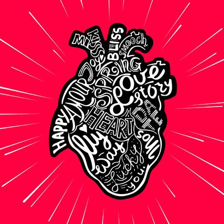 Dibujo A Mano Dibujo Anatómico Corazón. Ilustración De Vector De ...