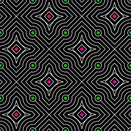 Abstract vector seamless moire pattern with waving circle lines. Monochrome op art, graphic with color points. Black and white ornament. Rhombus repeating texture. Vektorové ilustrace