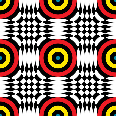 Abstract vector seamless op art pattern. Color plop art, graphic ornament. Optical illusion repeating texture. Illustration