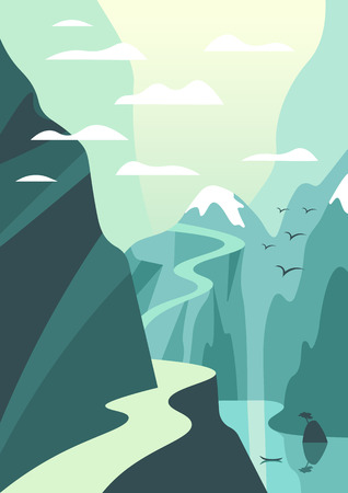 Mountain and lake landscape illustration. Vector travel poster in art deco style.
