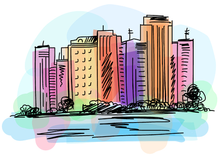 Cityscape view on embankment. Hand drawn digital vector watercolor and markers illustration.