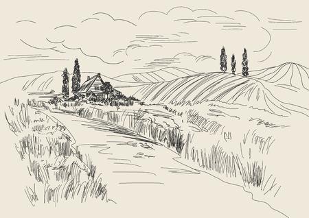 Hand getrokken vector illustratie van tarwe velden en dorpshuis. Inkttekening in vintage stijl. Stock Illustratie