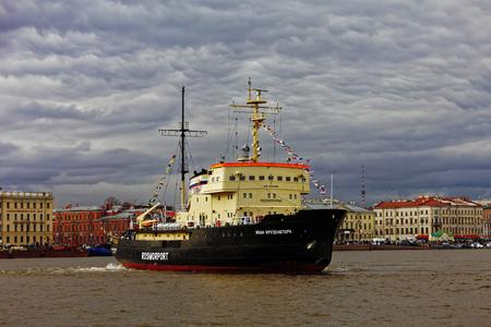 leningrad: Icebreakers festival in St. Petersburg, Russia. Icebreaker IVAN KRUZENSHTERN.