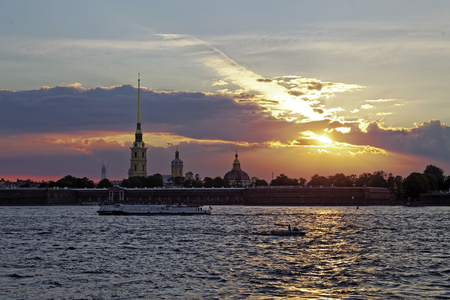 Peter and Paul fortress on the Neva river at sunset during the white nights in St. Petersburg. Petersburg, Russia Stock Photo
