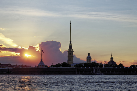 Peter and Paul fortress on Neva river at sunset during the white nights in St. Petersburg, Russia. Stock Photo