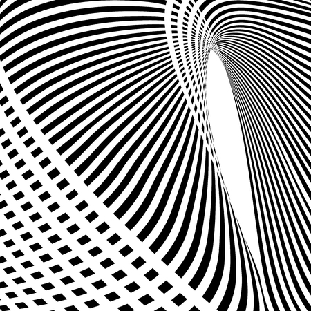 futuristic interior: Vector op art pattern. Optical illusion abstract background.