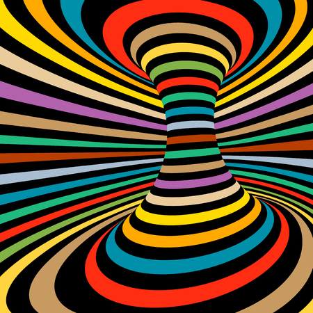 distortion: Colorful vector op art pattern. Optical illusion abstract background