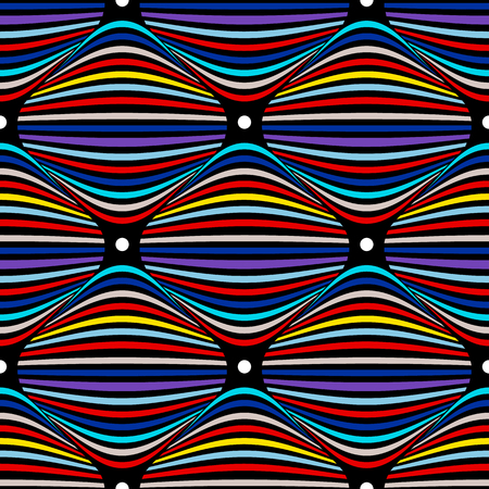 Colorful seamless vector op art pattern. Optical illusion abstract background