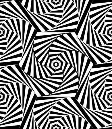 Abstract vector seamless op art pattern. Monochrome graphic ornament. Banco de Imagens