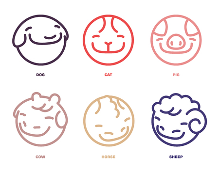 Vector set of smile animals avatars. Farm animals and pets icon vector set in linear style