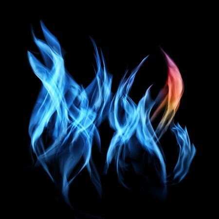 Gas flame of burning fire over black background