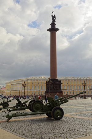SAINT-PETERSBURG, RUSSIA - 11 AUGUST 2017: Original soviet military equipment and tanks on Palace Square, St. Petersburg, Russia Editorial