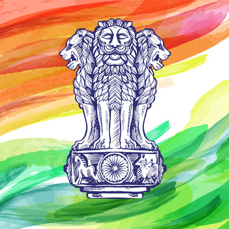 Lion capital of ashoka in indian flag color emblem of india watercolor texture backdrop. Vector illustration created with custom brushes, not auto-tracing.