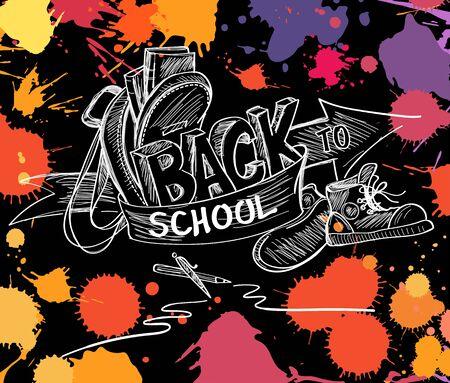 Back to school hand drawn doodle sketch vector illustration. olorful artistic splash blots