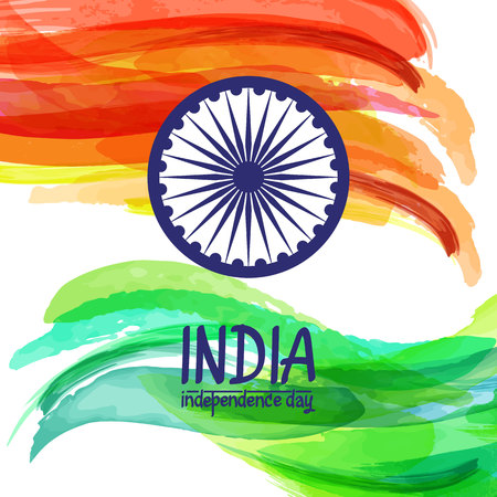 Hand-painted digital watercolor India flag. Template for indian republic day and independence day. Vector illustration created with custom brushes, not auto-tracing. Stock Photo