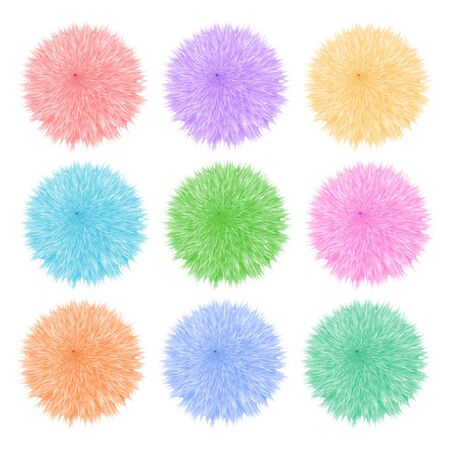 woollen: Colorful set with of fluffy balls. Pompom isolated on white background
