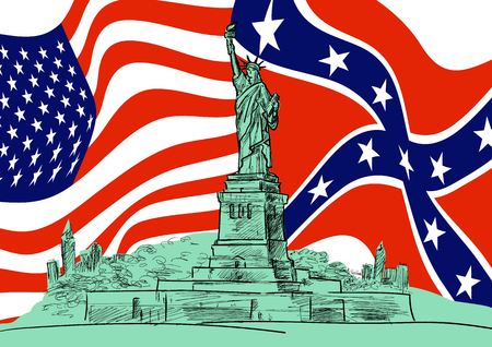Statue of Liberty against the background of the flags of the United States and the Confederate Rebel. Hand drawn sketch. Vector EPS 10