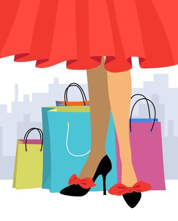 Woman in a red skirt and high-heeled shoes on a background of bags. Concept of sale