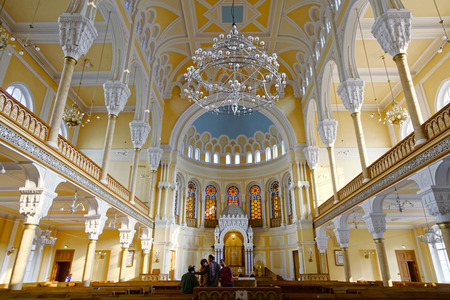 SAINT-PETERSBURG, RUSSIA - 17 OCTOBER 2017: Interior of Grand Choral Synagogue of St. Petersburg, Russia. Editorial