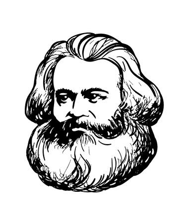 Vector drawing portrait of Karl Marx, german philosopher, economist, political theorist. Hand-drawn illustration