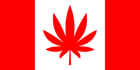 Canadian flag with red cannabis leaf on maple leaf place. Concept of marijuana legalization