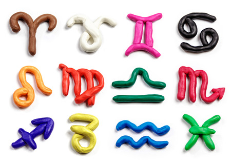 Set of hand drawn modeling clay zodiac signs. Handmade plasticine icons isolated on white background