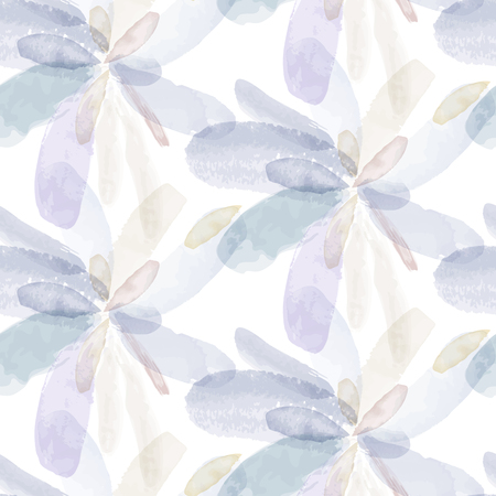 Seamless pattern of watercolor hand painting flowers. Vector illustration created with custom brushes, not auto-tracing.