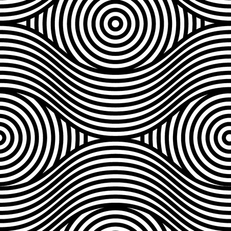 Abstract vector seamless op art pattern. Monochrome graphic ornament