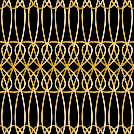 Seamless retro pattern with abstract sgold chains. Vector fashion backdrop in vintage style