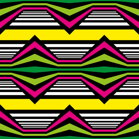 Abstract vector seamless op art pattern. Color plop art, graphic ornament. Optical illusion Stock Photo