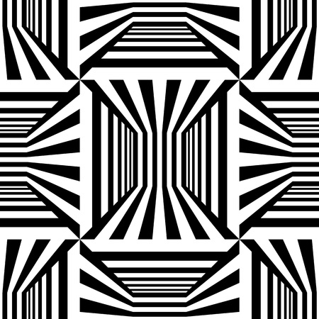 Abstract vector seamless op art pattern. Monochrome graphic black and white ornament. Striped optical illusion repeating texture