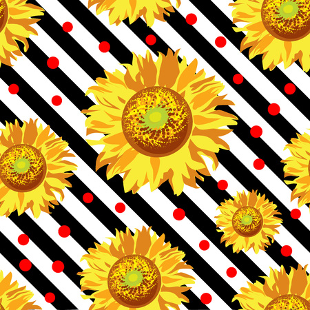 Seamless vector with sunflower flowers on black and white stripes. Vintage floral background 矢量图像