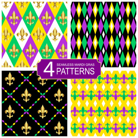 Set of seamless vector pattern with heraldic fleur de lis flowers. Vector background for the Mardi Gras festival Stock Photo