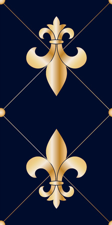 Golden heraldic fleur de lis flowers seamless pattern.