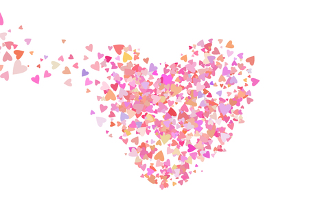 Rose color confetti with heart shapes. Romance pink background for Valentines Day, wedding invitation Illustration