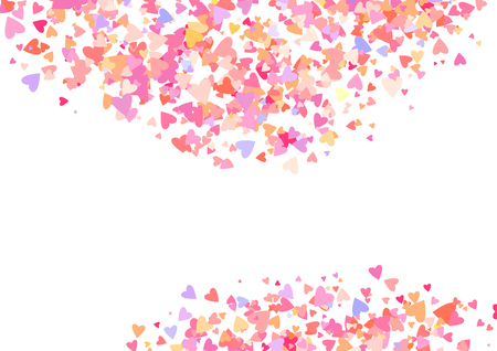 Rose color confetti with heart shapes. Romance pink background for Valentines Day, wedding invitation Stock Photo